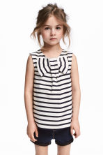 Sleeveless top with a bow - White/Dark blue/Striped - Kids | H&M 1