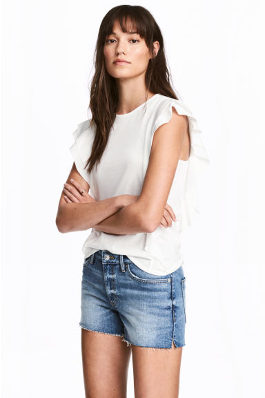 Frilled top - White - Ladies | H&M CA 1