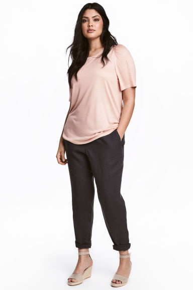H&M+ Joggers de lino - Gris oscuro - MUJER | H&M ES 1