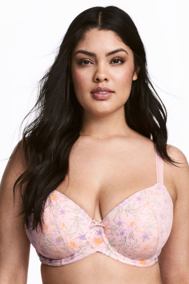 Padded underwired bra E/F cup - Light pink/Floral - Ladies | H&M CN 1