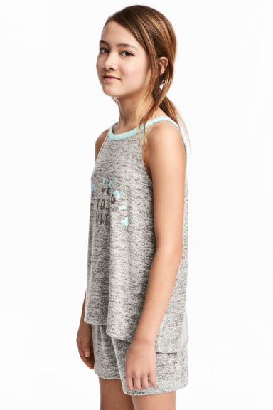 Printed vest top - Grey marl -  | H&M CN