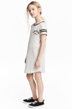 Printed T-shirt dress - Light grey marl - Kids | H&M 1