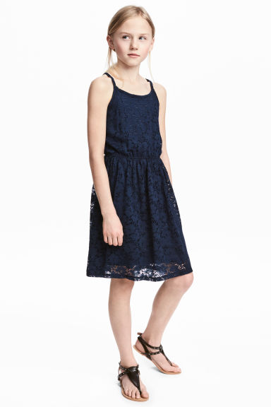 蕾絲洋裝 - Dark blue - Kids | H&M 1