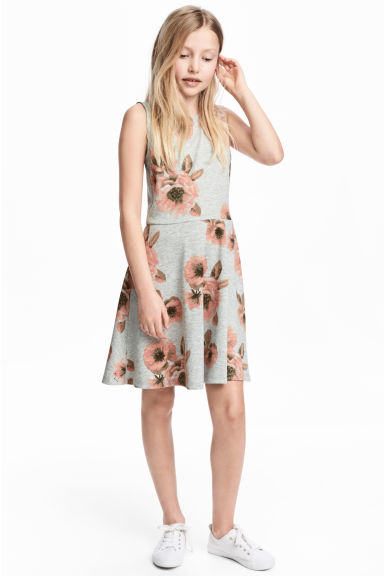 Jersey dress - Grey/Floral -  | H&M 1