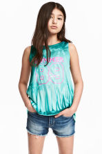 Double-layered vest top - Mint green/Palms -  | H&M CA 1