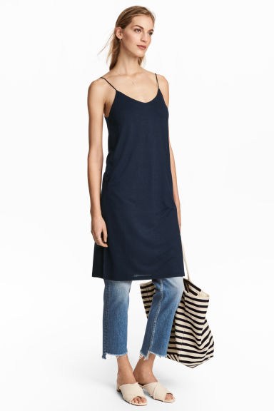 Knee-length jersey dress - Dark blue - Ladies | H&M CN 1
