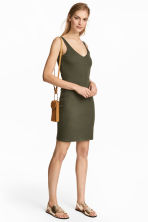 Jersey dress - Dark khaki green - Ladies | H&M CN 1