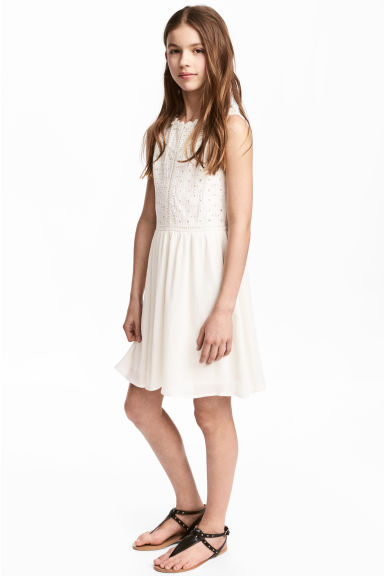 Embroidered cotton dress - White - Kids | H&M 1