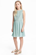 Embroidered cotton dress - Mint green -  | H&M 1