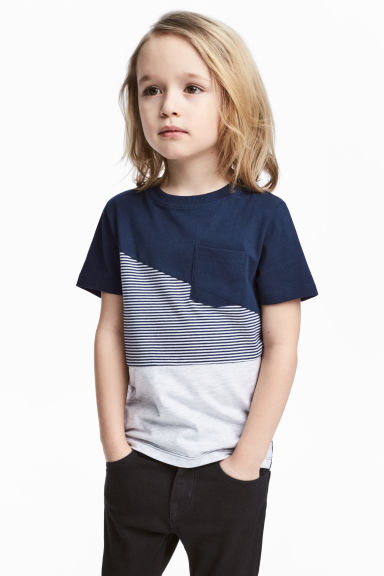 T-shirt - Dark blue/Light grey - Kids | H&M 1