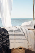 Jacquard-weave bedspread - Anthracite grey/Striped  - Home All | H&M CN 1