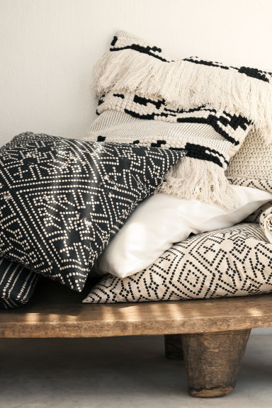 Patterned cushion cover - Anthracite grey - Home All | H&M CN 1