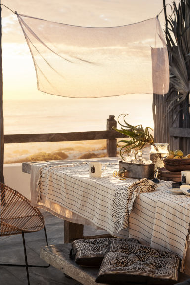 Fringed tablecloth - Natural white/Striped - Home All | H&M CN 1