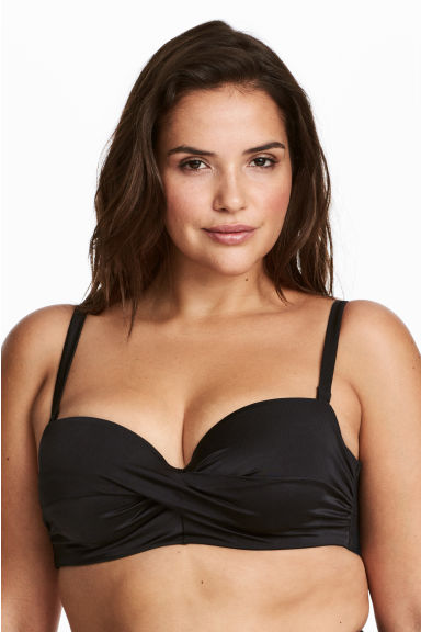 H&M+ Draped bandeau bikini top - Black - Ladies | H&M
