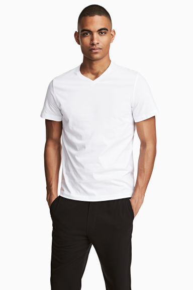 V-neck T-shirt Regular fit - White - Men | H&M 1