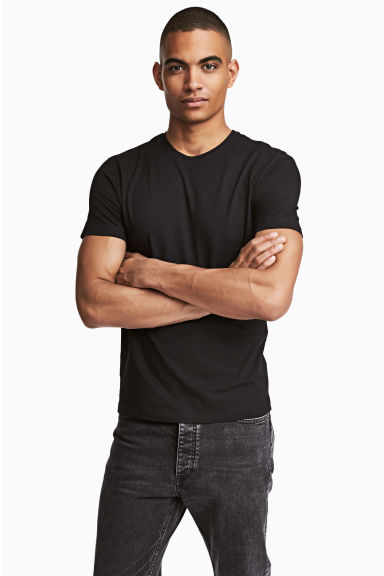 Round-neck T-shirt Slim fit - Black - Men | H&M CN 1