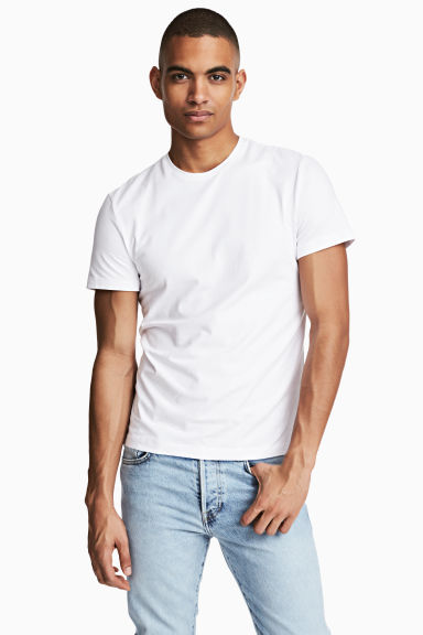 Round-neck T-shirt Slim fit - White - Men | H&M CN 1