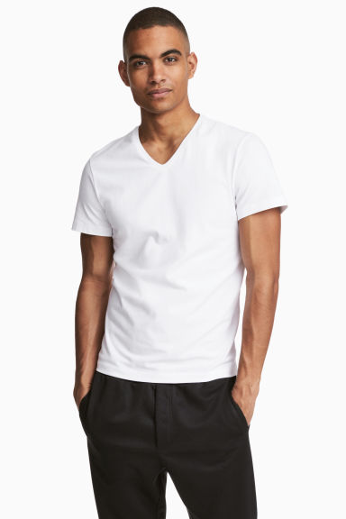 V-neck T-shirt Slim fit - White -  | H&M CN 1