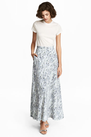 Long silk skirt - White/Patterned -  | H&M IE 1