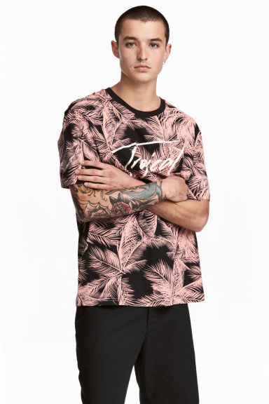Patterned T-shirt - Black/Leaf - Men | H&M