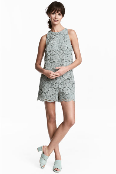 Lace playsuit - Dusky green - Ladies | H&M