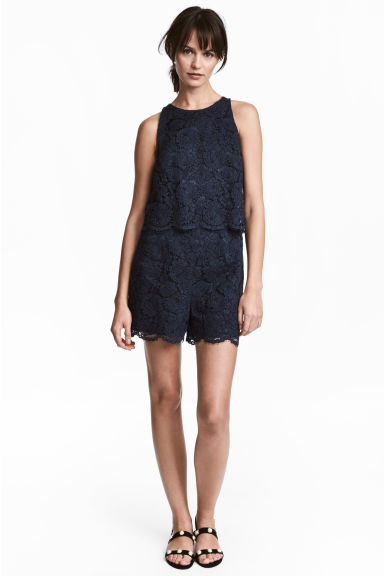 Lace playsuit - Dark blue - Ladies | H&M IE
