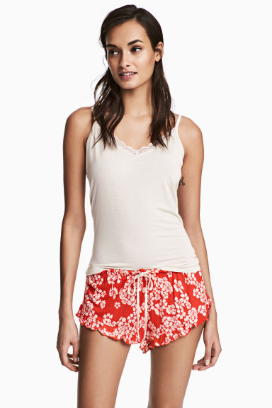 2-pack pyjama shorts - Red/Floral - Ladies | H&M 1