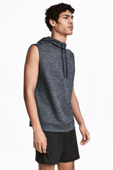 Sleeveless hooded top - Dark grey-blue - Men | H&M CN 1