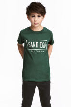 Printed T-shirt - Dark green -  | H&M CN 1