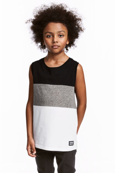 Jersey vest top - White/Block striped -  | H&M 1