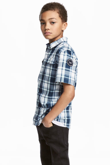 Short-sleeved shirt - White/Checked - Kids | H&M 1