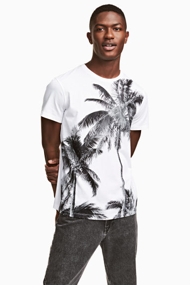 T-shirt with a print motif - White/Palms - Men | H&M