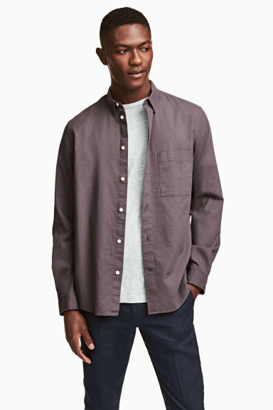 Linen-blend shirt Regular fit - Dusky purple - Men | H&M 1