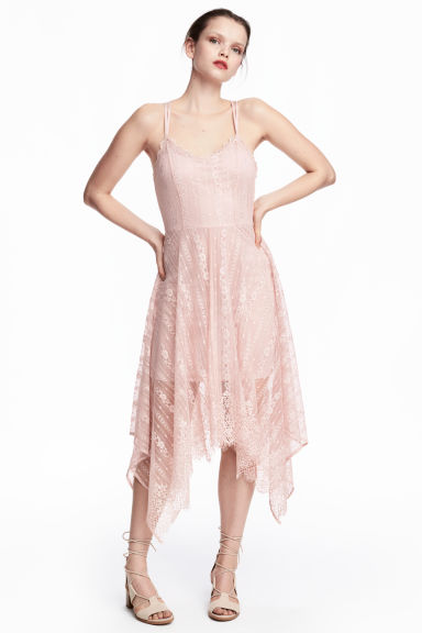 Knee-length lace dress - Powder pink -  | H&M