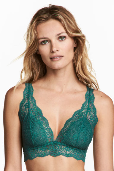 Non-wired lace bralette - Emerald green - Ladies | H&M 1