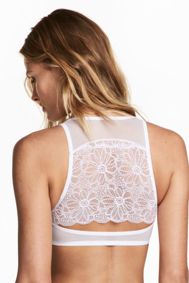 Lace-back push-up bra - White -  | H&M CN