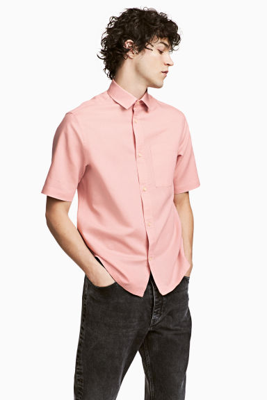 Linen-blend shirt - Dusky pink - Men | H&M CN 1