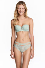 Lace Brazilian briefs - Dusky green - Ladies | H&M 1