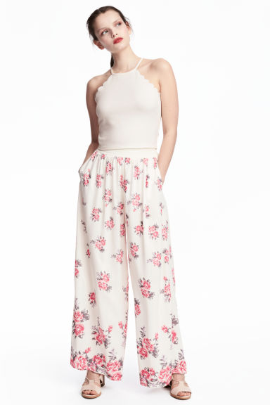 Wide trousers - Natural white/Floral - Ladies | H&M CN 1