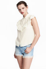 Frilled blouse - Natural white - Ladies | H&M CN 1