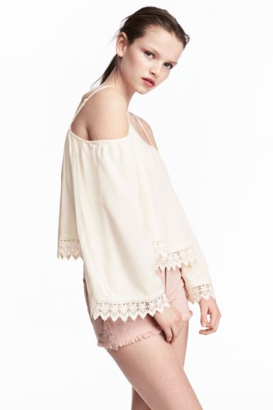 Off-the-shoulder blouse - Natural white - Ladies | H&M 1