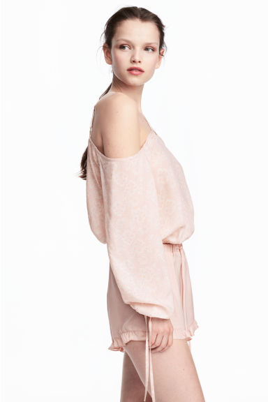 Cold shoulder blouse - Powder pink/Pattern - Ladies | H&M CN 1