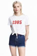Tie-front T-shirt - White - Ladies | H&M 1