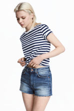 Tie-front T-shirt - Blue/White striped - Ladies | H&M 1