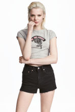 Short jersey top - Grey marl - Ladies | H&M GB 1