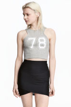 Cropped jersey vest top - Grey marl - Ladies | H&M 1