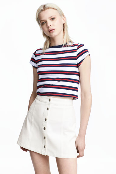 Short jersey top - Blue/White striped - Ladies | H&M 1