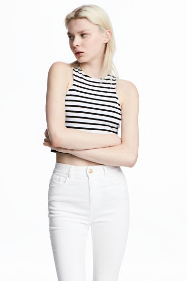 短版平紋背心上衣 - White/Black striped - Ladies | H&M 1