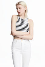 Cropped jersey vest top - White/Black striped - Ladies | H&M CN 1
