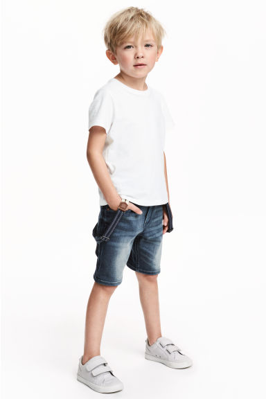 Denim shorts with braces - Dark denim blue - Kids | H&M 1